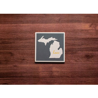 Gray Yellow Michigan Coaster