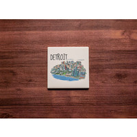Detroit Skyline Drawing Coaster