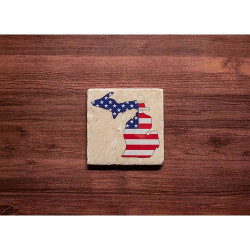 American Flag MI Coaster
