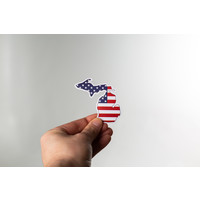 Waterproof Sticker - American Flag Michigan - MEDIUM