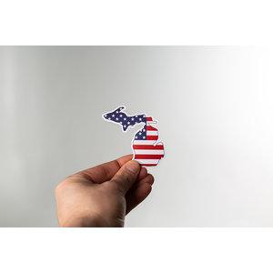 Waterproof Sticker - American Flag Michigan - MEDIUM