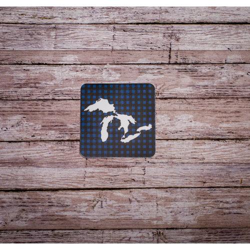 Waterproof Sticker - Great Lakes Blue Plaid - MEDIUM
