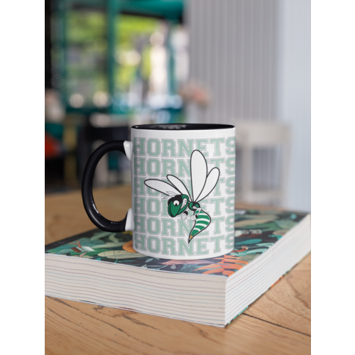 Hornet Letters with Mascot Mug (11oz, Black)