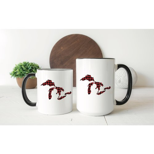 Red Plaid Great Lakes Mug
