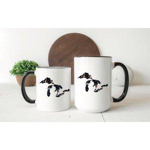 Black Floral Great Lakes Mug Two