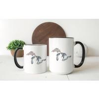 Gray Floral Great Lakes Mug