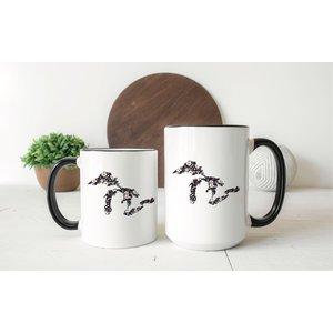 Black Floral Great Lakes Mug