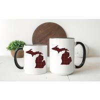 Red Plaid Michigan Mug