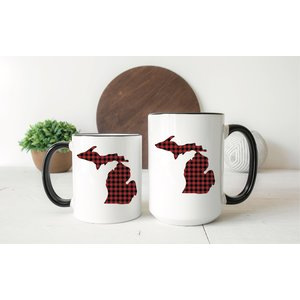 Red Plaid Michigan Mug
