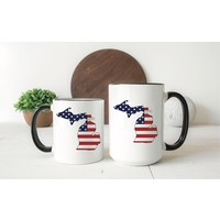 America Flag Michigan Mug