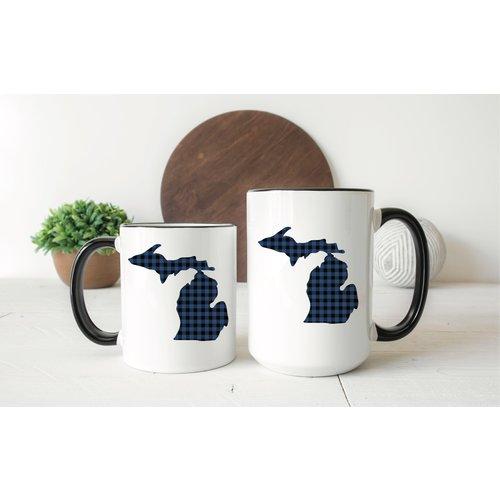 Blue Plaid Michigan Mug
