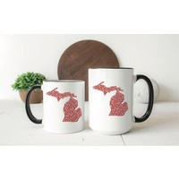 Hearts Michigan Mug