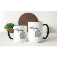 Gray Floral Michigan Mug