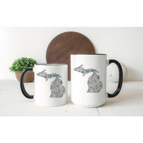 Gray Floral Michigan Mug