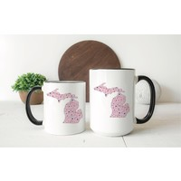 Pink Floral Michigan Mug