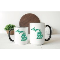 Green Floral Michigan Mug Two