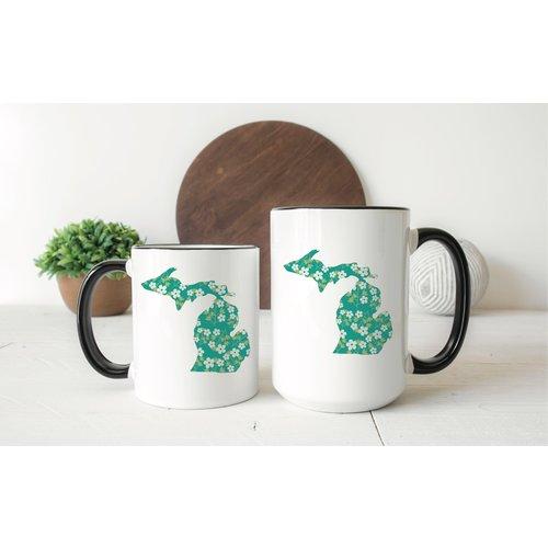Green Floral Michigan Mug Two