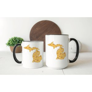 Yellow Floral Michigan Mug