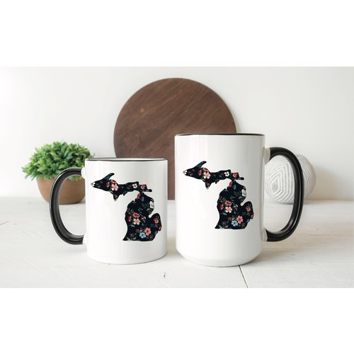 Black Floral Michigan Mug