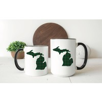 Green Plaid Michigan Mug