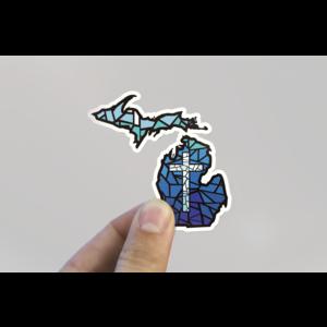 Waterproof Sticker - MI Stained Glass With Cross - MEDIUM