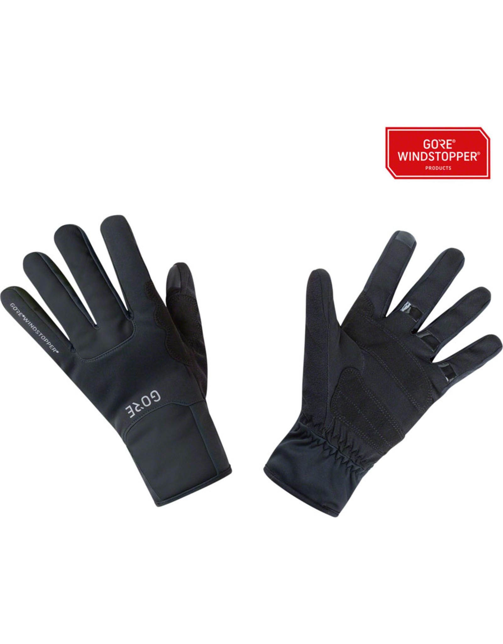 GORE M WINDSTOPPER® Thermo Gloves - Black, Full Finger
