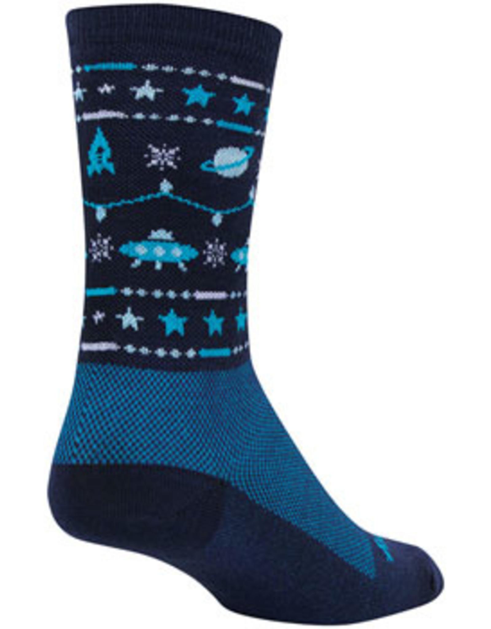 SockGuy Wool Ugly Sweater Blue Crew Socks - 6 inch, Blue