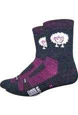 DeFeet Woolie Boolie Baaad Sheep Socks - 4 inch, Charcoal/Neon Pink