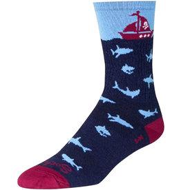 SockGuy Wool Lunch Socks - 6 inch, Blue/Maroon, Small/Medium
