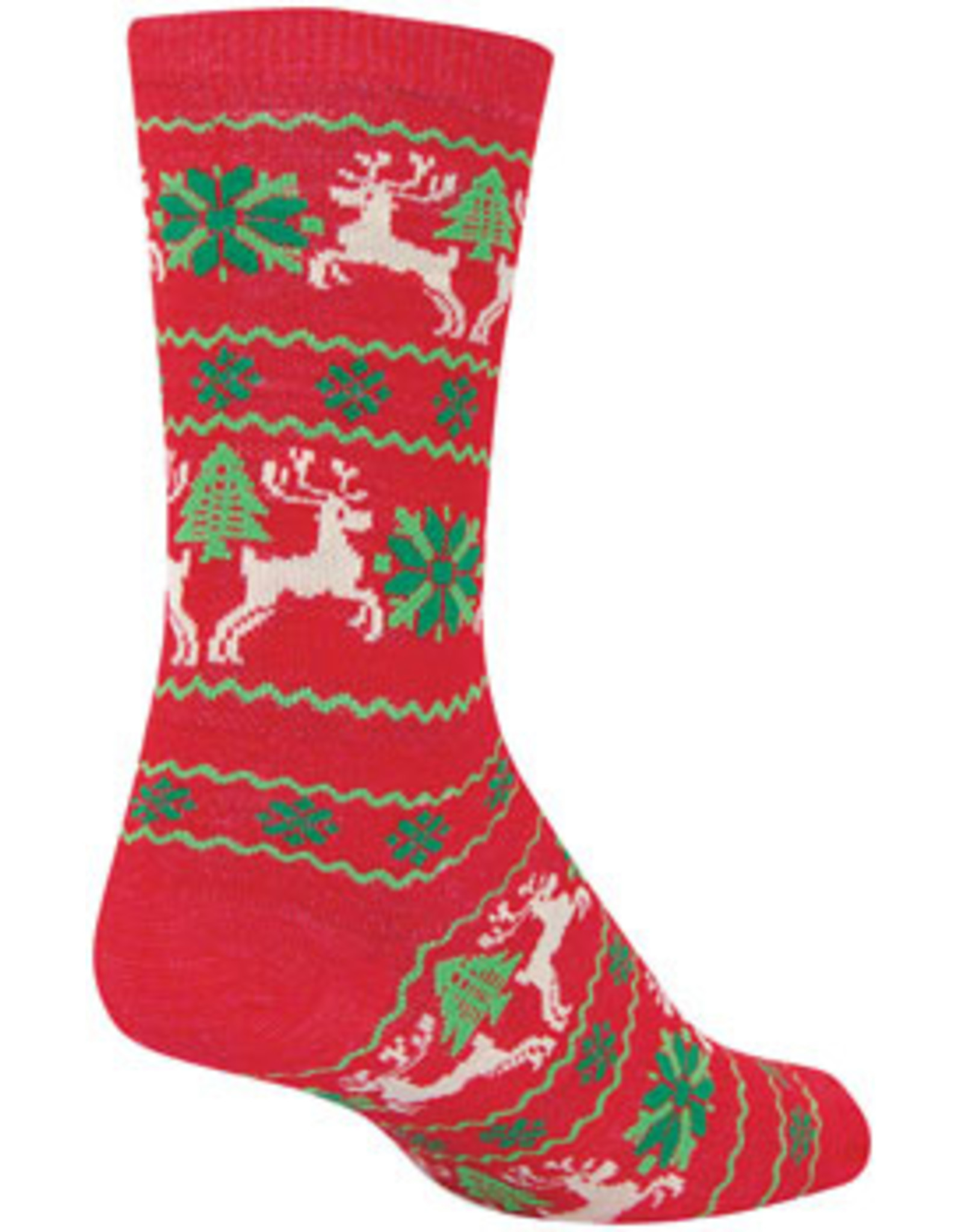 SockGuy Wool Ugly Sweater Red Crew Socks - 6 inch, Red/Green