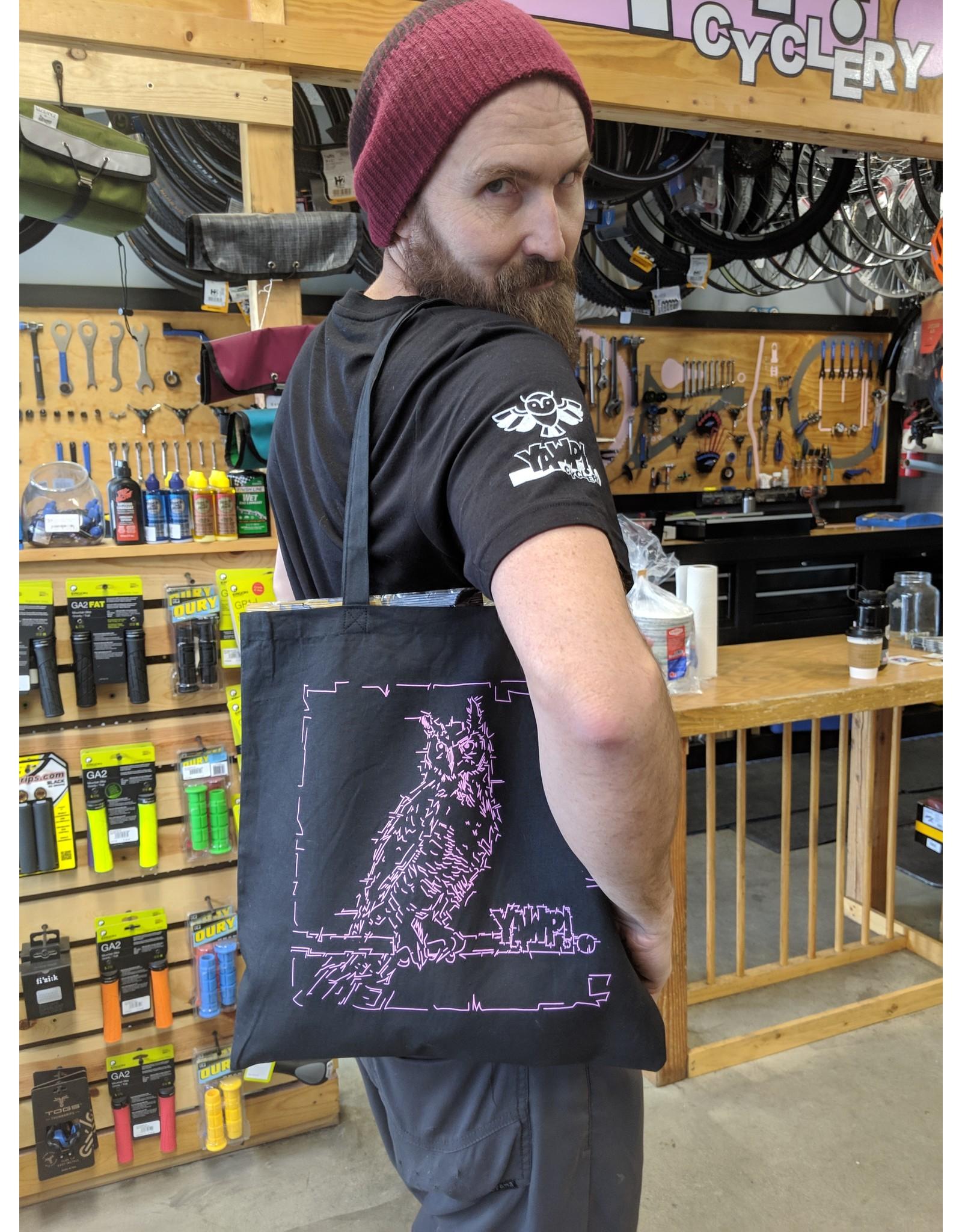 Yawp! Owl Tote Bag - Black/Pink