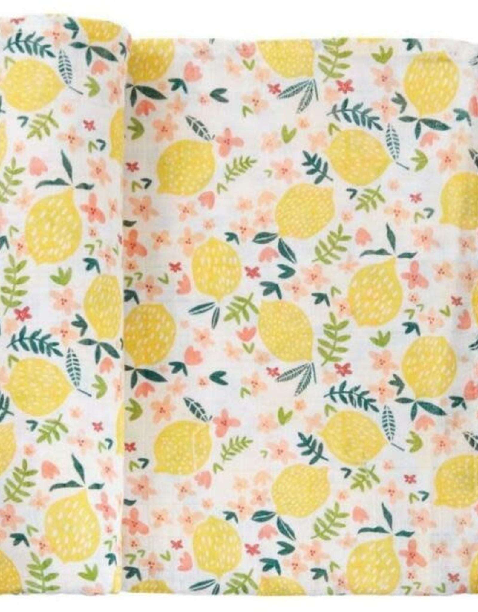 Mud Pie Lemon Floral Swaddle Blanket