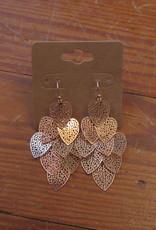 Wink Leaf Dangle Earrings - Rose Gold Color
