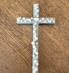 Mud Pie Gray Wood Cross w Pearls