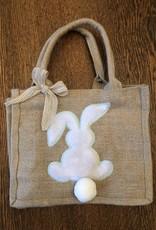 Wink Burlap Bunny Easter Bag - Mint