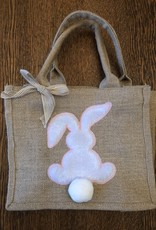 Wink Burlap Bunny Easter Bag - Pink