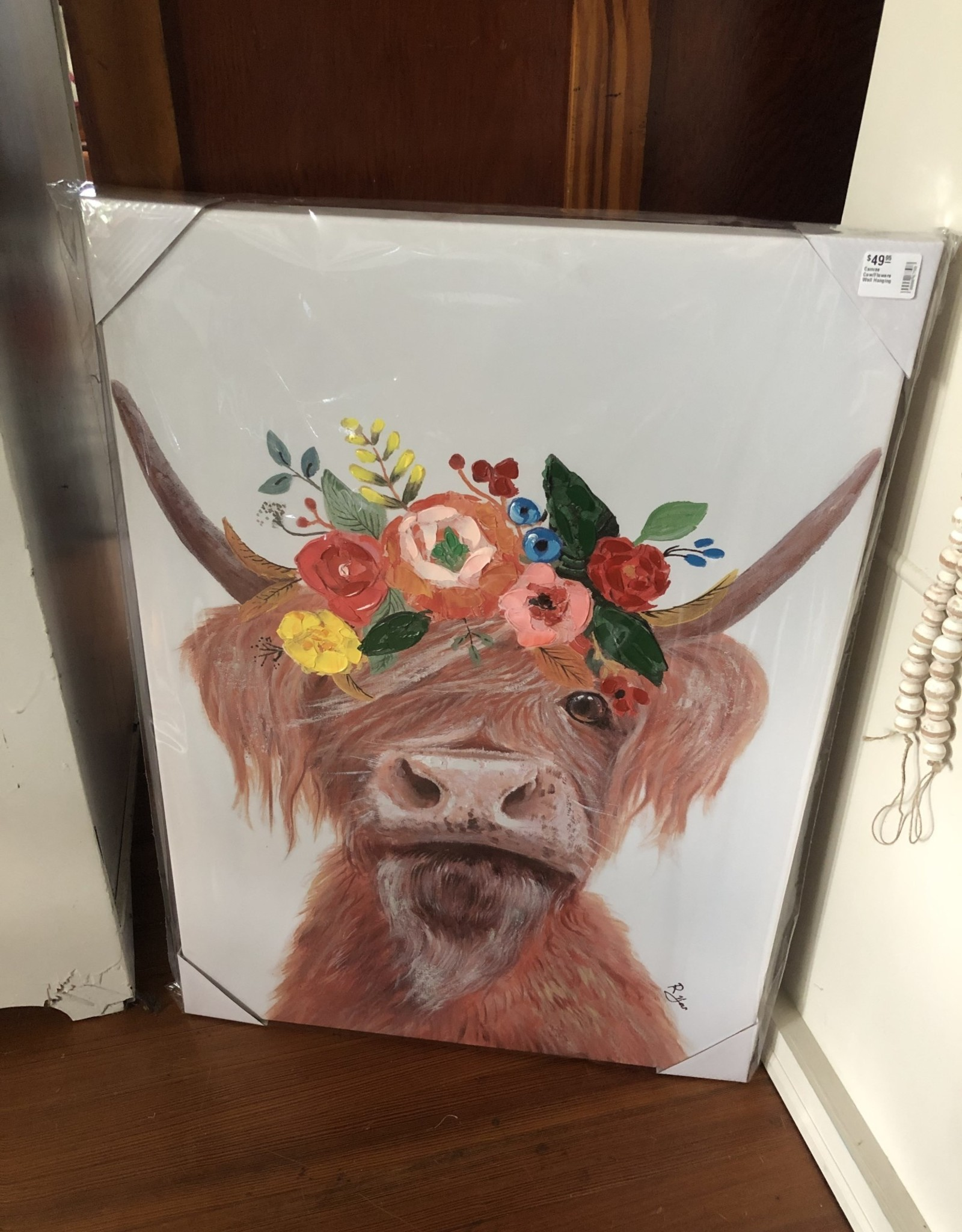 Wink Canvas Cow/Flowers Wall Hanging