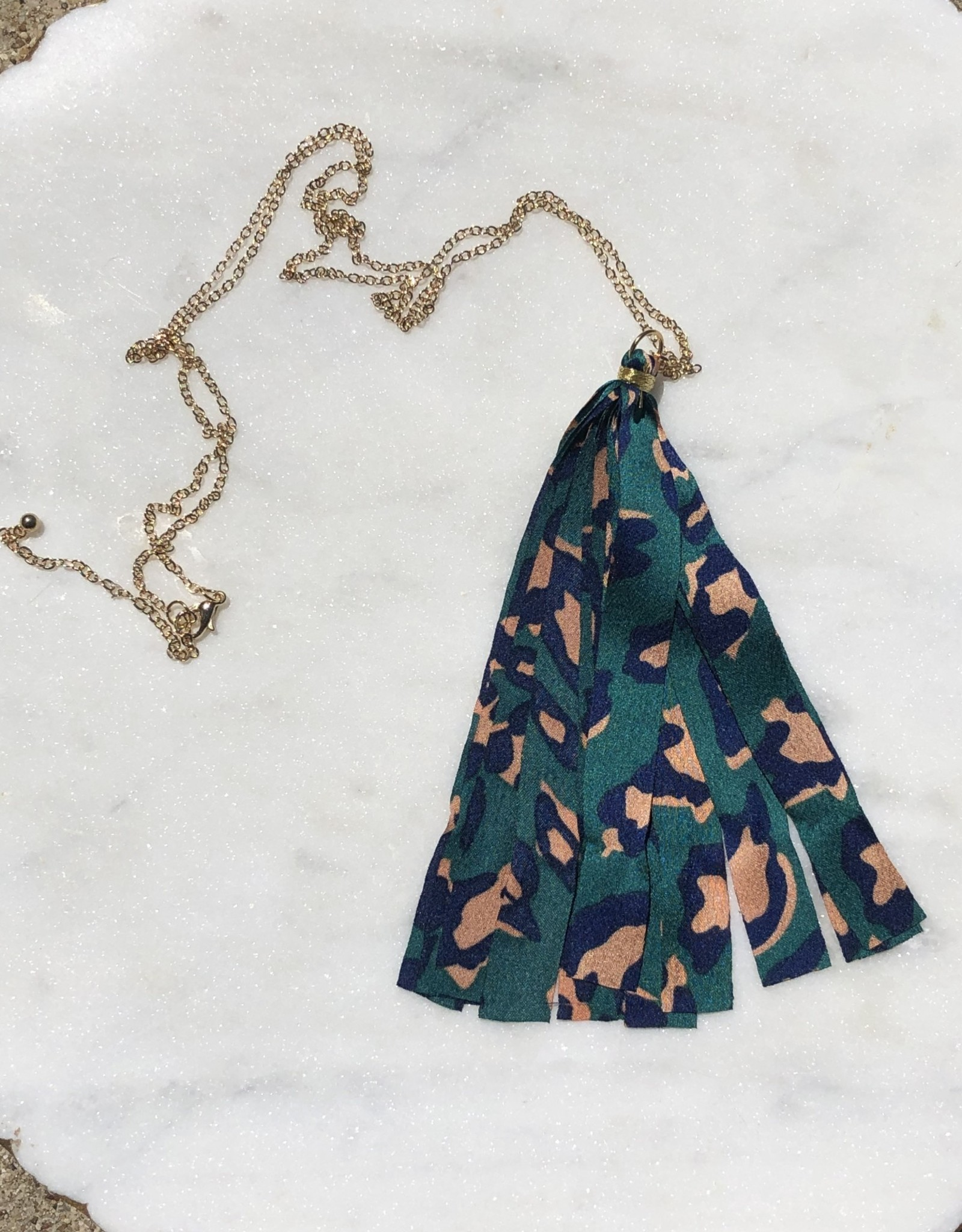 Wink Leopard Silk Long Tassel Necklace