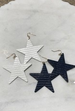 Wink Textured Star Dangle Earrings