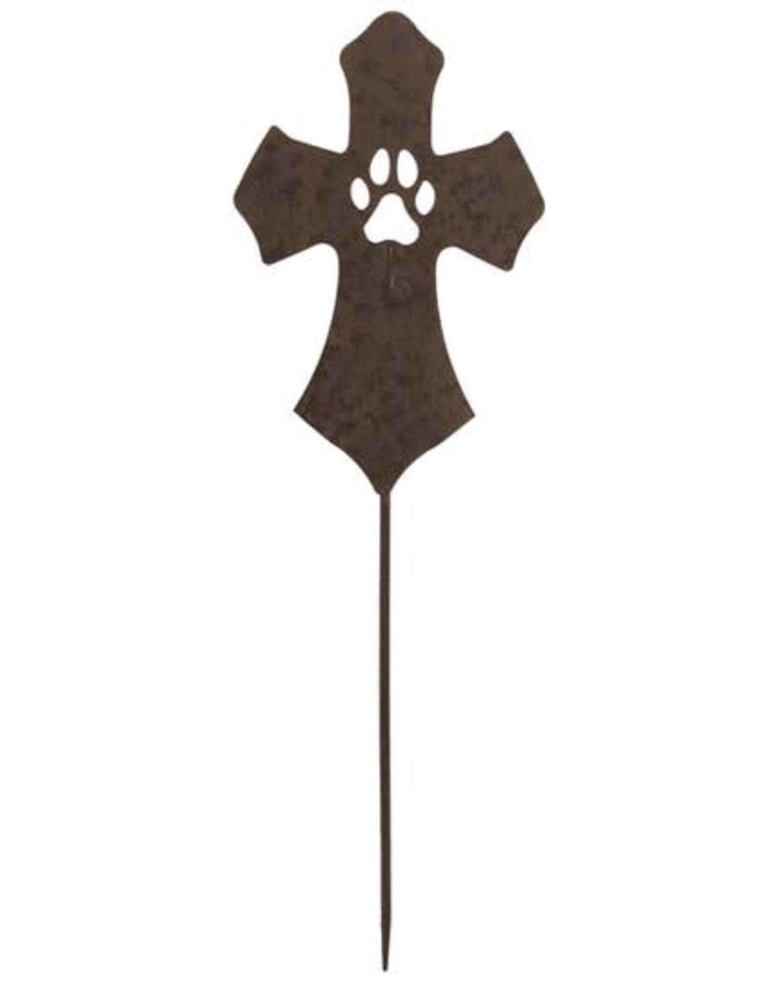 "Wink Metal Bronze Best Friend Footprint Cross Yard Sign 30"""