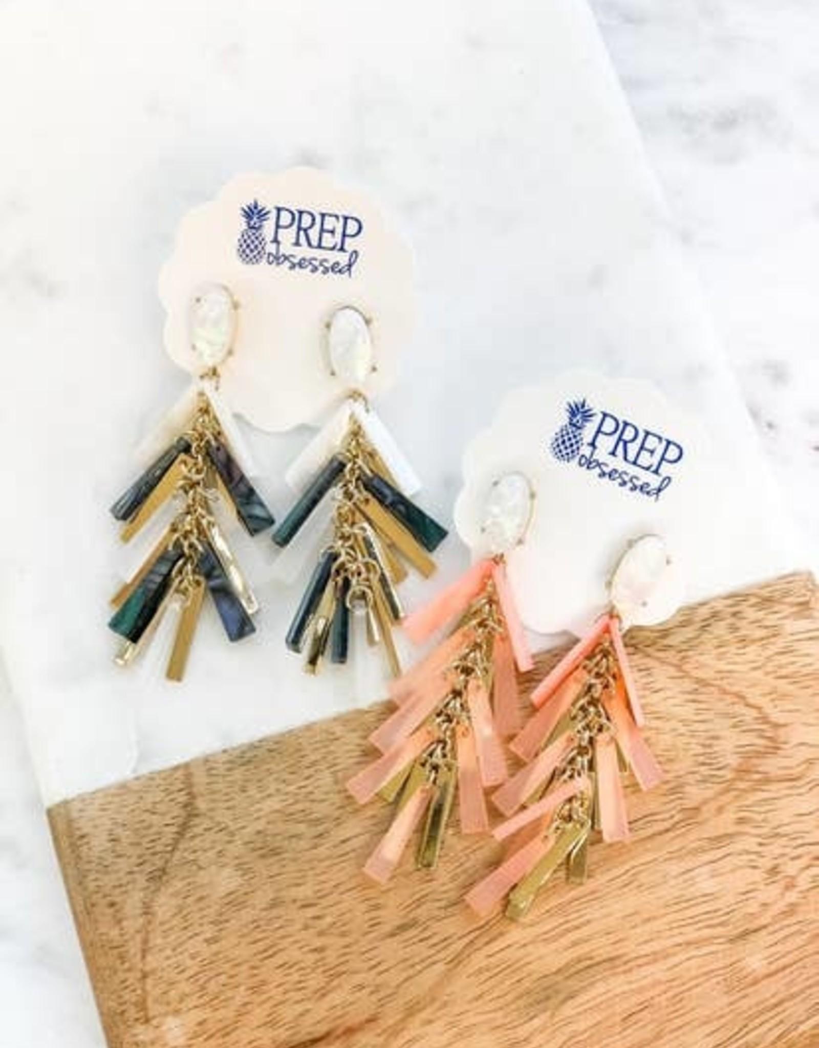 Wink Acrylic Tassel Statement Earrings - Abalone