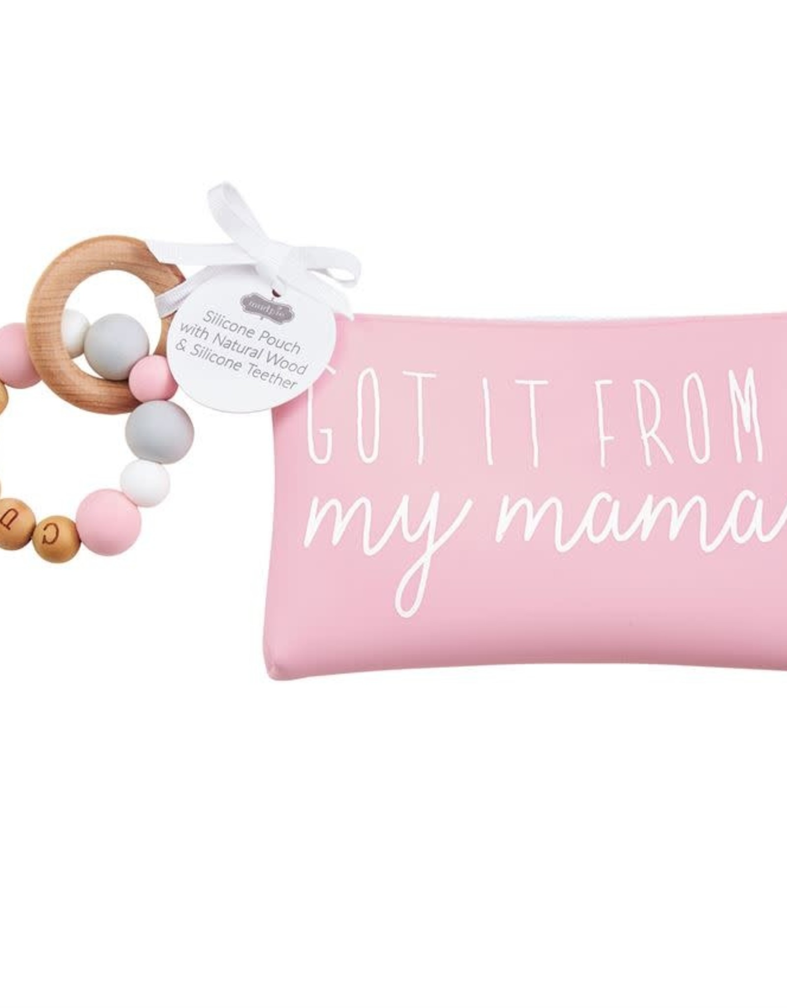 Mud Pie Pink Silicone Teether Pouch