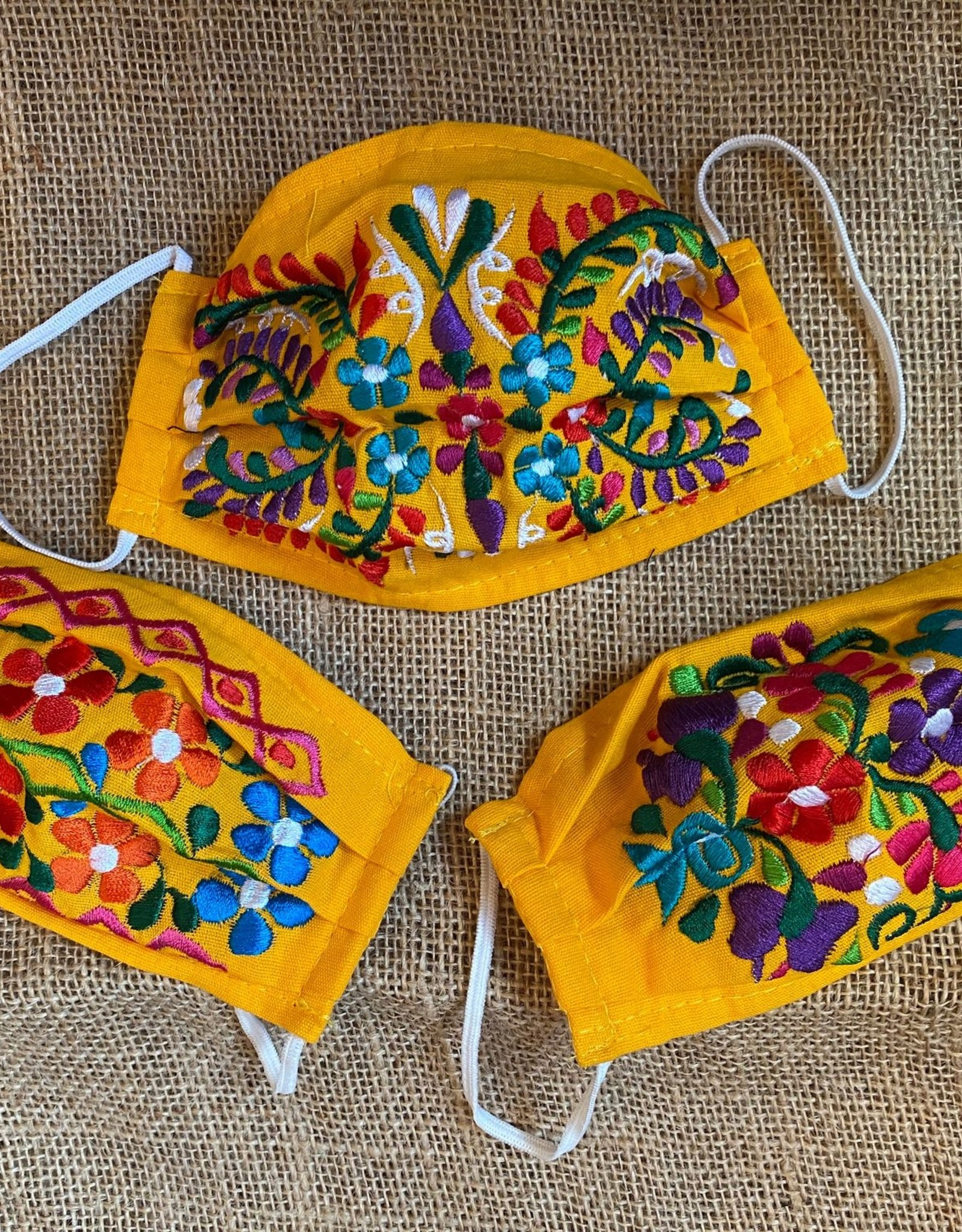 Wink Embroidered Face Covering - Yellow