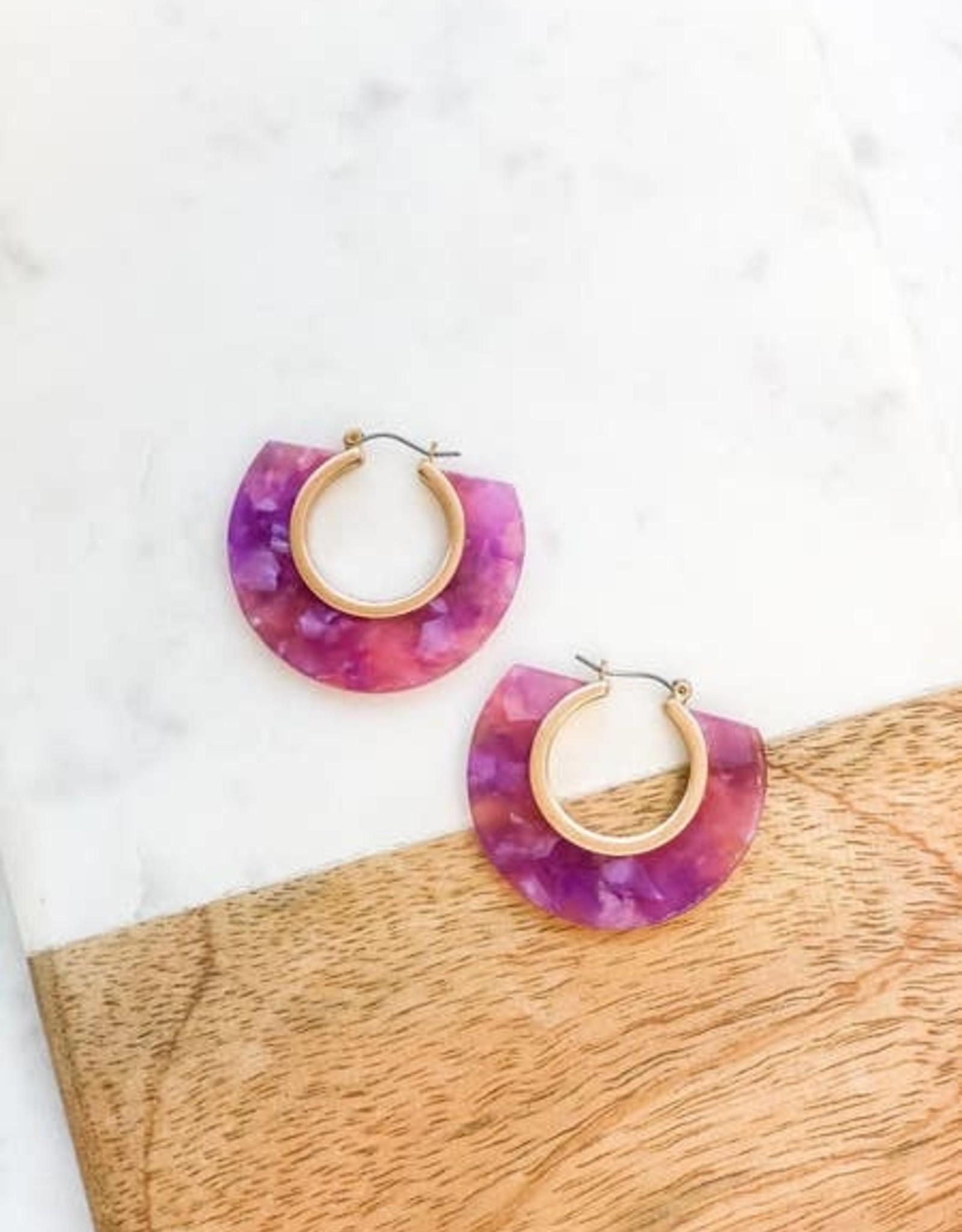 Wink Violet Hoop Acrylic Earrings