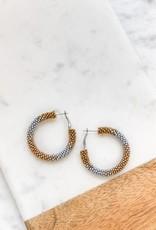 Wink Silver and Gold Beaded Hoop Earrings