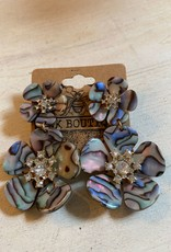 Wink Silver Abalone Acryllic Flower Earrings