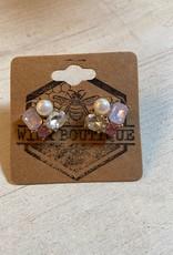 Wink Pink Jewel and Pearl Cluster Stud Earrings
