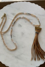 Wink Beaded Necklace with Leather Tassel - Brown