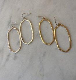 Wink Open Oval Hammered Metal Earrings