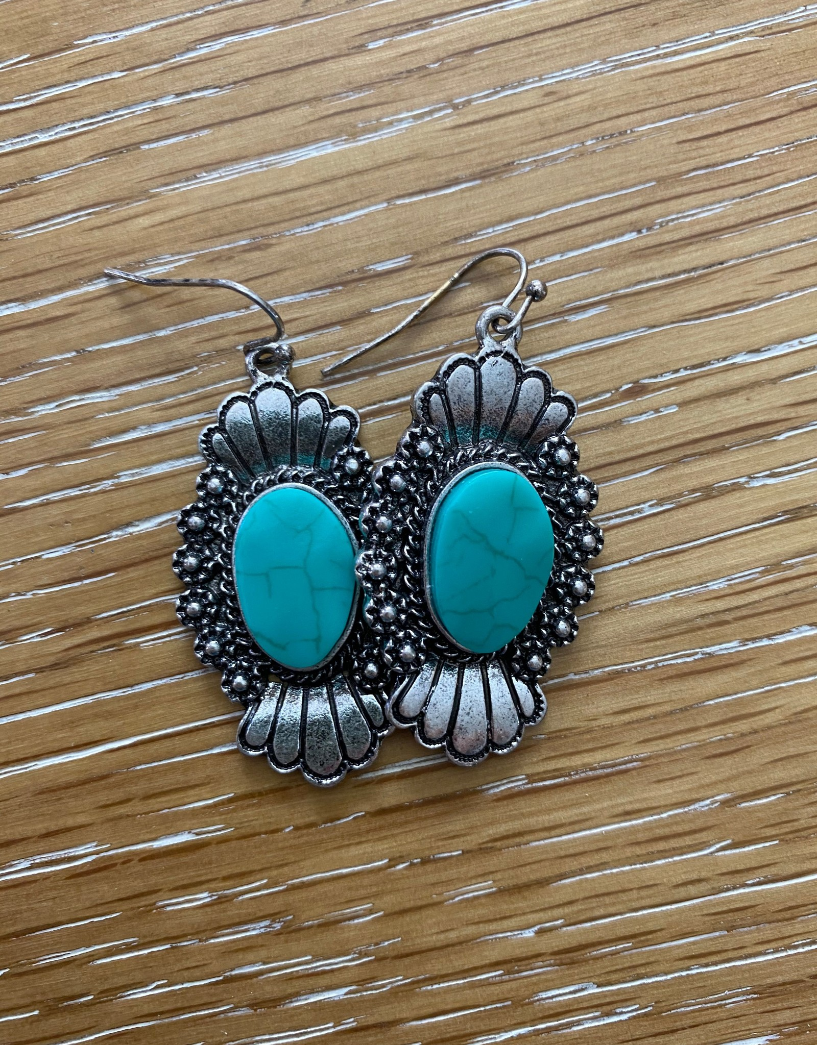 Wink Turquoise and Silver Fleur Earrings
